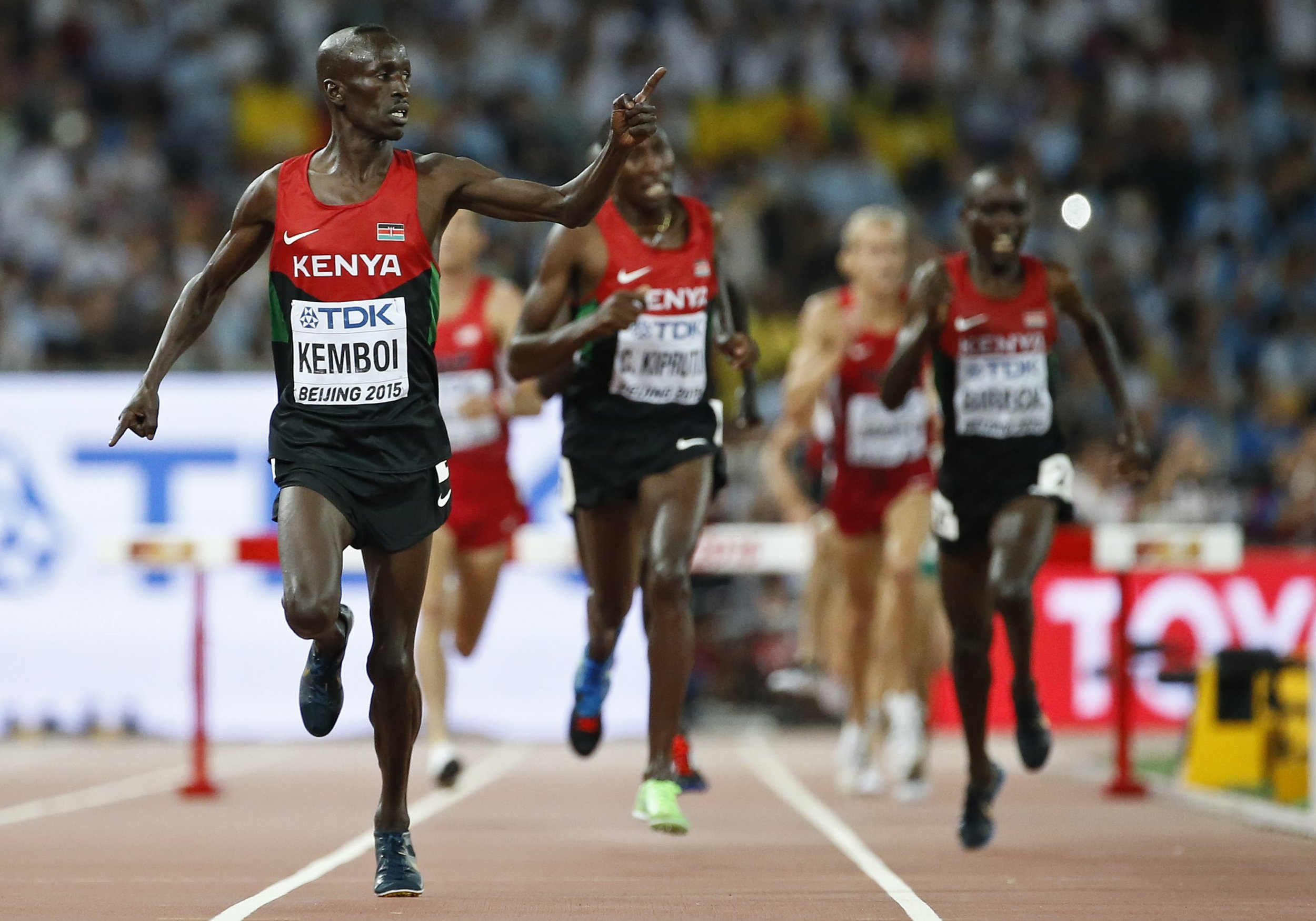 Kenyan athlete Ezekiel Kemboi wins gold at the World Championships in Beijing.