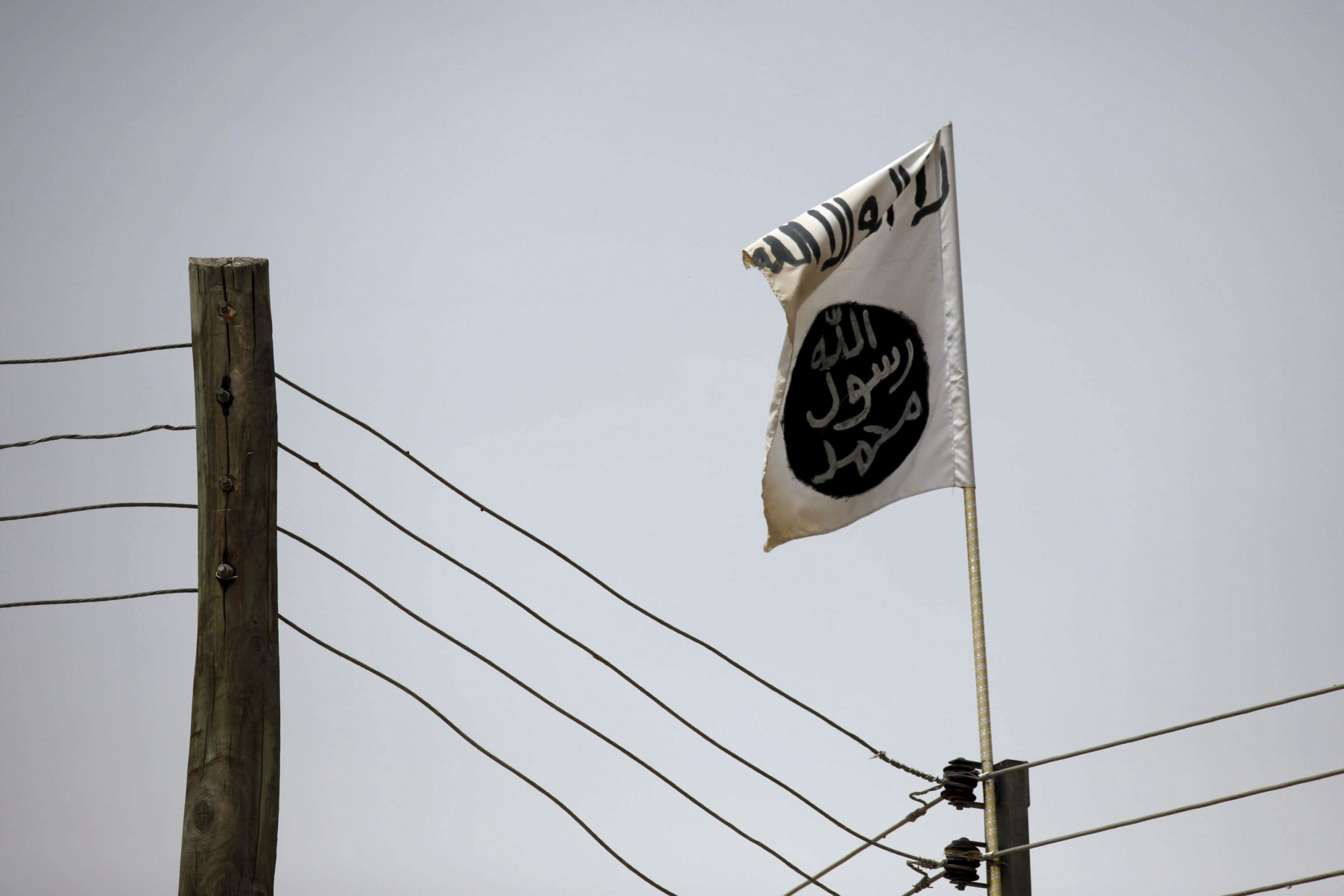 A Boko Haram flag flies in Damasak, Nigeria.
