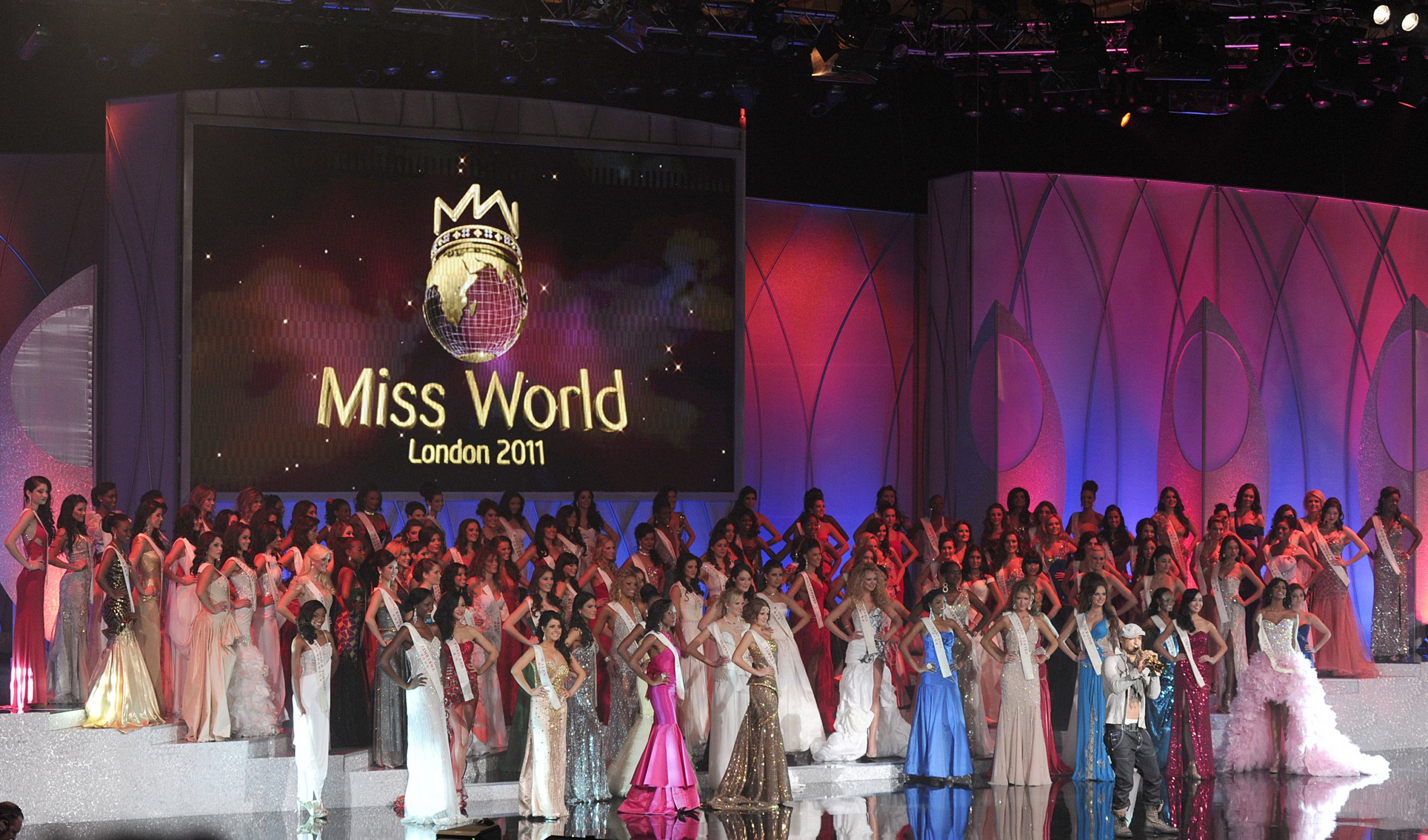 Miss World contestants on stage in London.