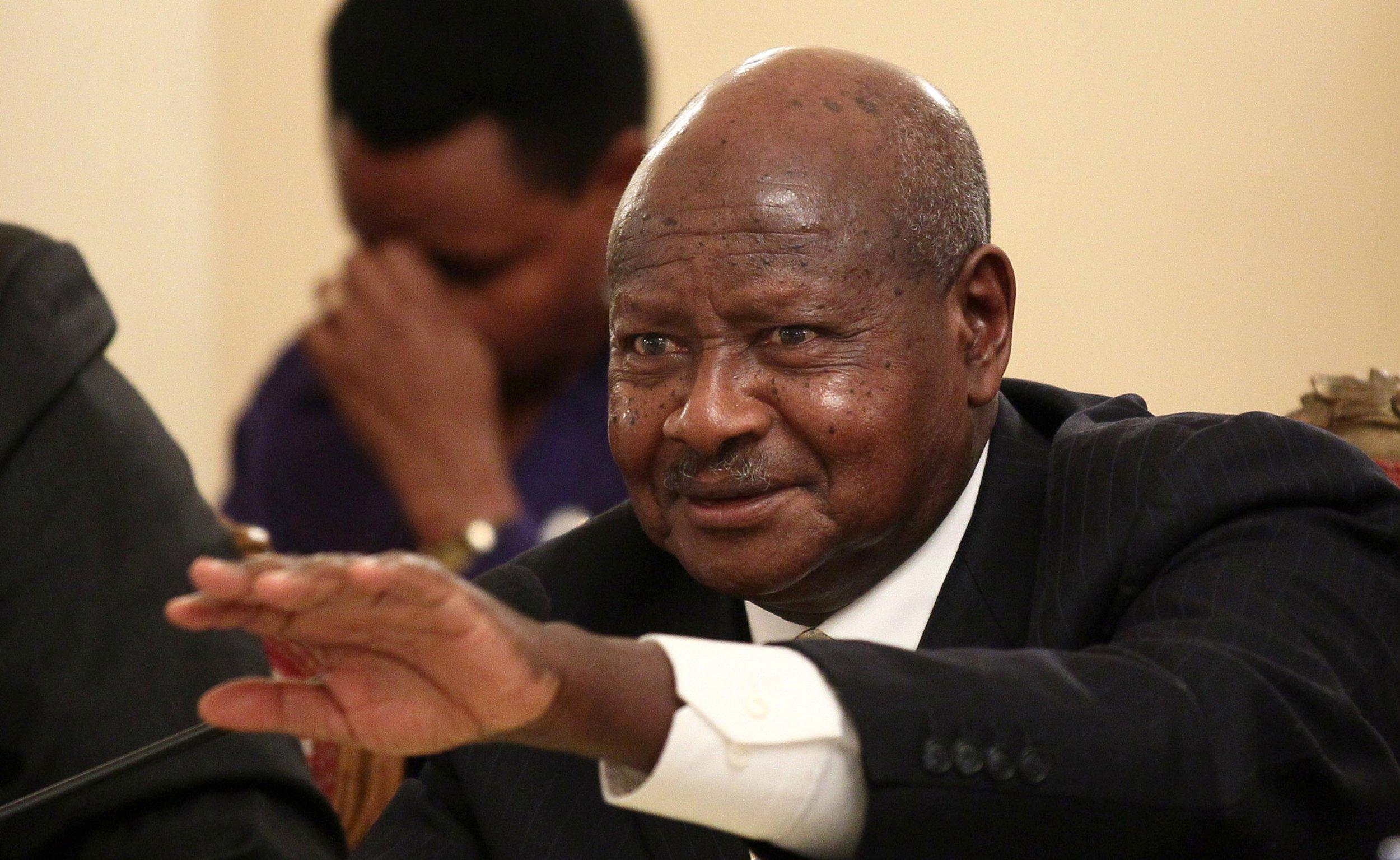 Ugandan President Yoweri Museveni addresses a news conference in Addis Ababa.
