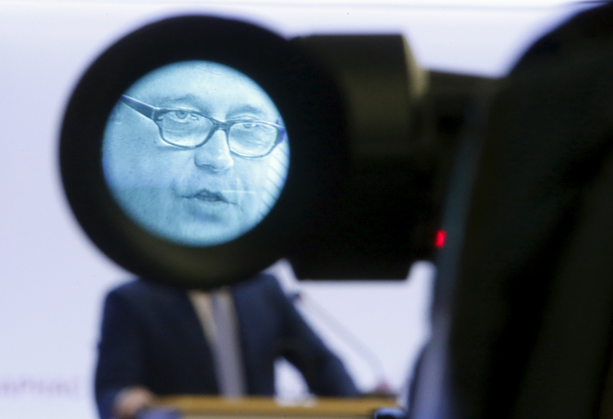 Kasyanov's face seen in a camera close up