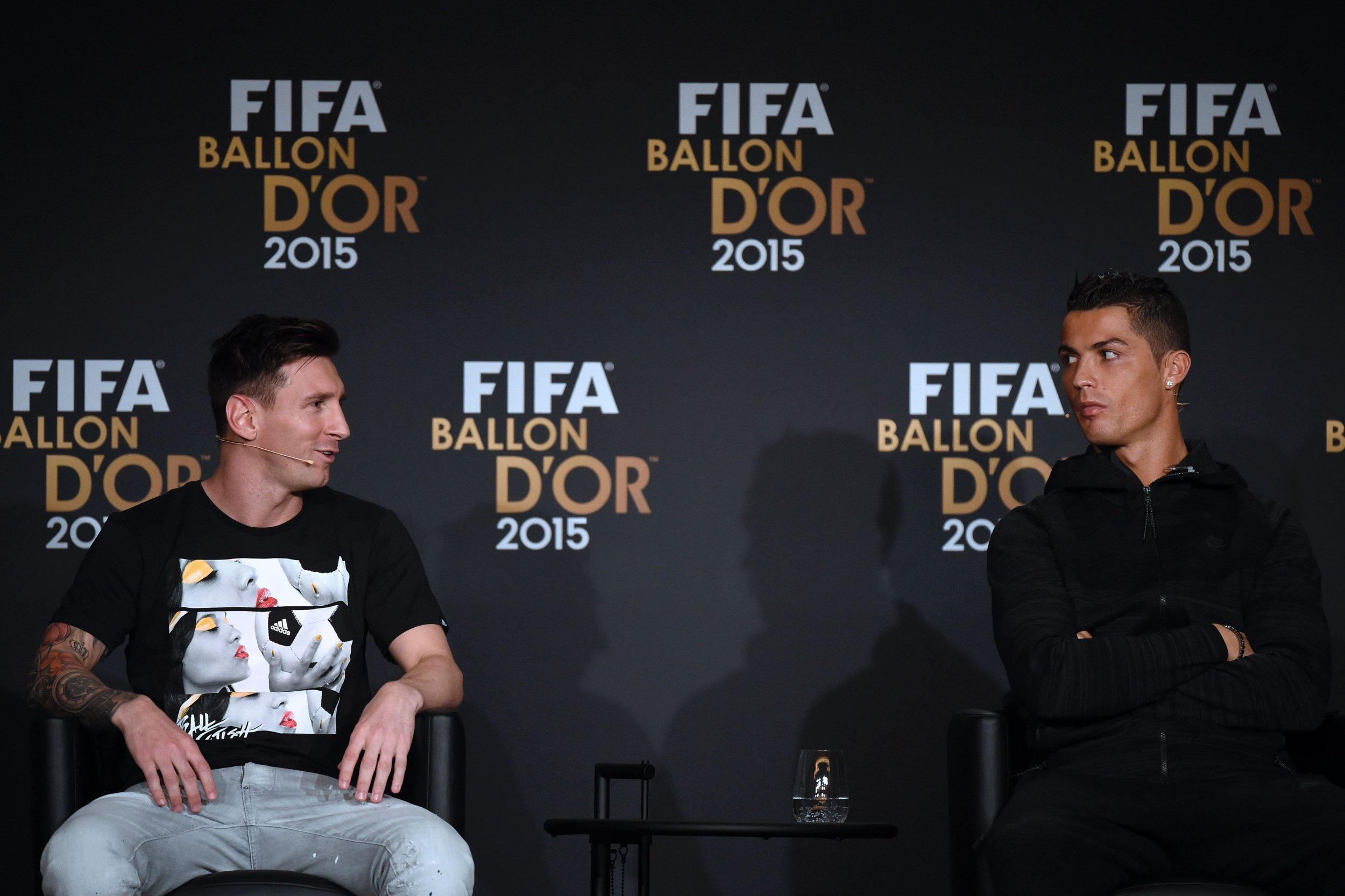 Cristiano Ronaldo and Lionel Messi at the FIFA Ballon d'Or ceremony in January 2016.