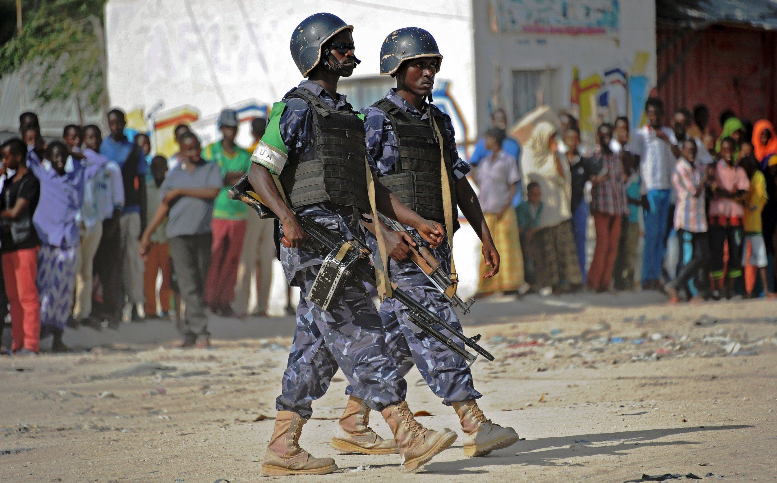 AMISOM soldiers patrol in Mogadishu.