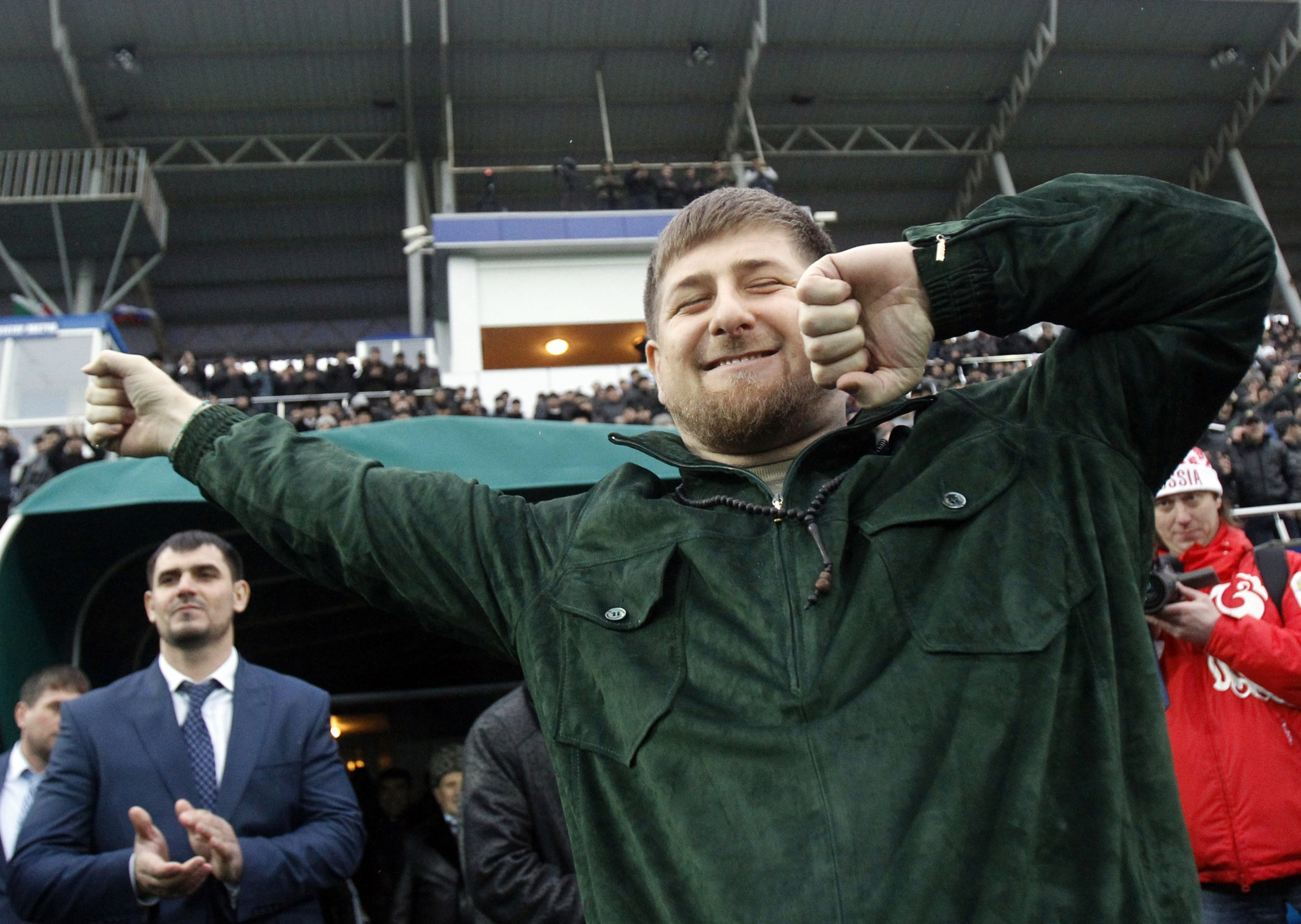 Ramzan Kadyrov dances in a stadium