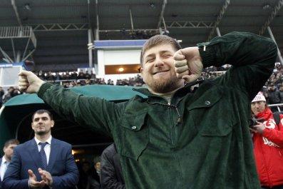 Ramzan Kadyrov dances in a stadium
