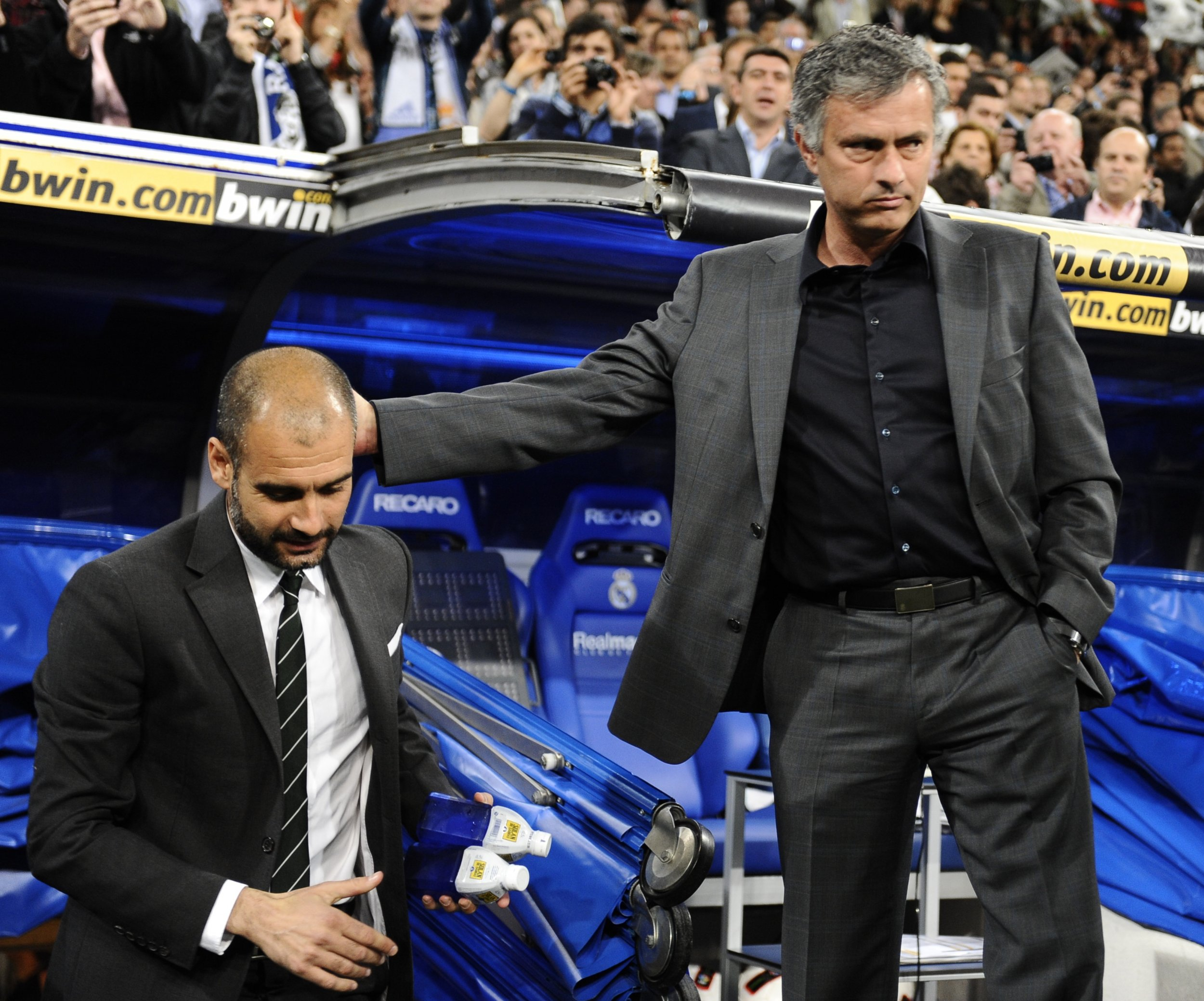Pep Guardiola, left, and Jose Mourinho were rivals in Spain.