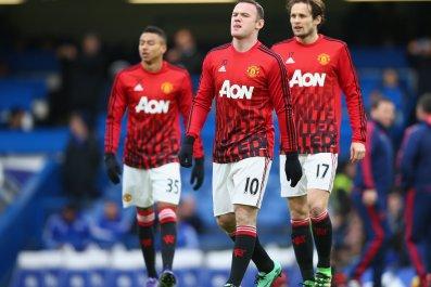 Manchester United captain Wayne Rooney, center, at Stamford Bridge, February 2016.