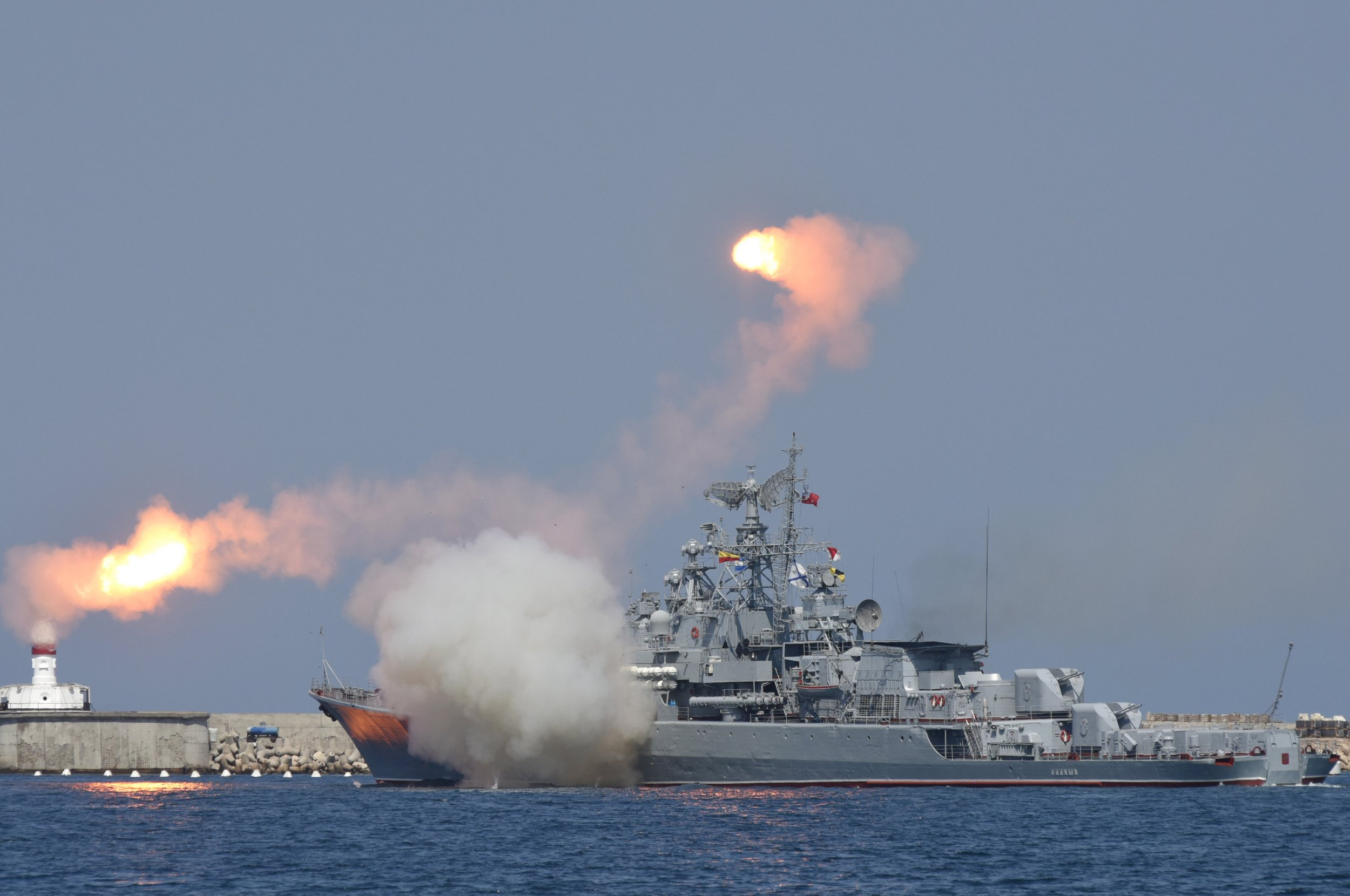 Russian warship fires missiles in the Black Sea