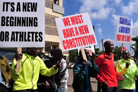 Kenyan athletes protesting in Nairobi, November 2015.