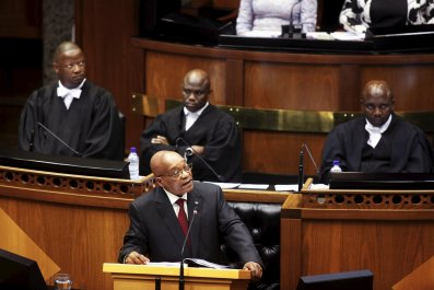 Jacob Zuma opens the South African Parliament.