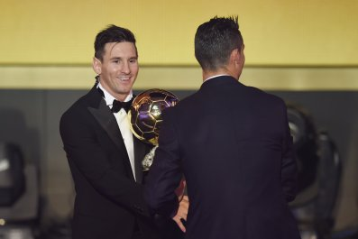 Lionel Messi, left, and Cristiano Ronaldo at the 2015 Ballon d'Or ceremony in Zurich.