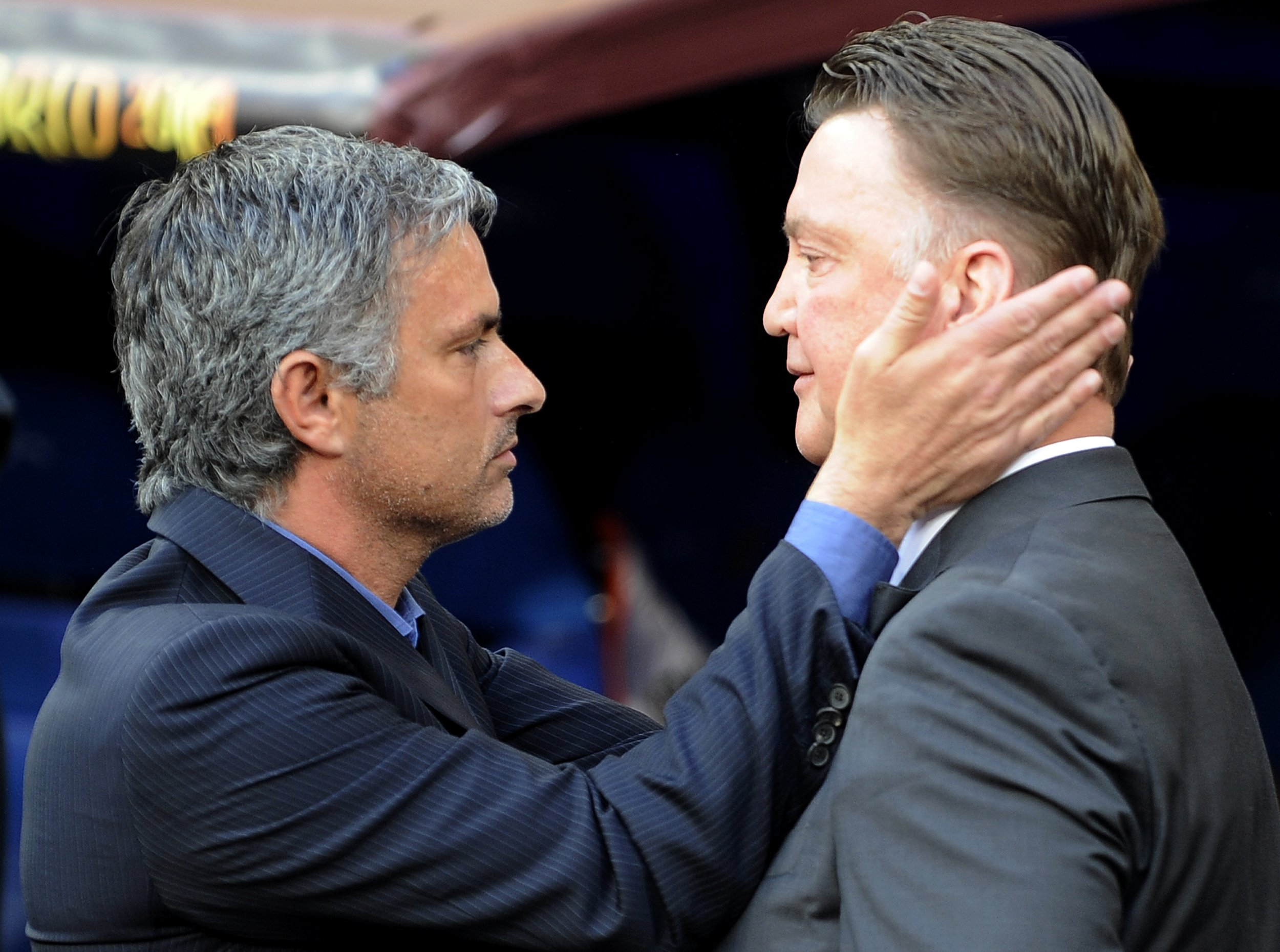 Jose Mourinho, left, with Manchester United manager Louis Van Gaal.