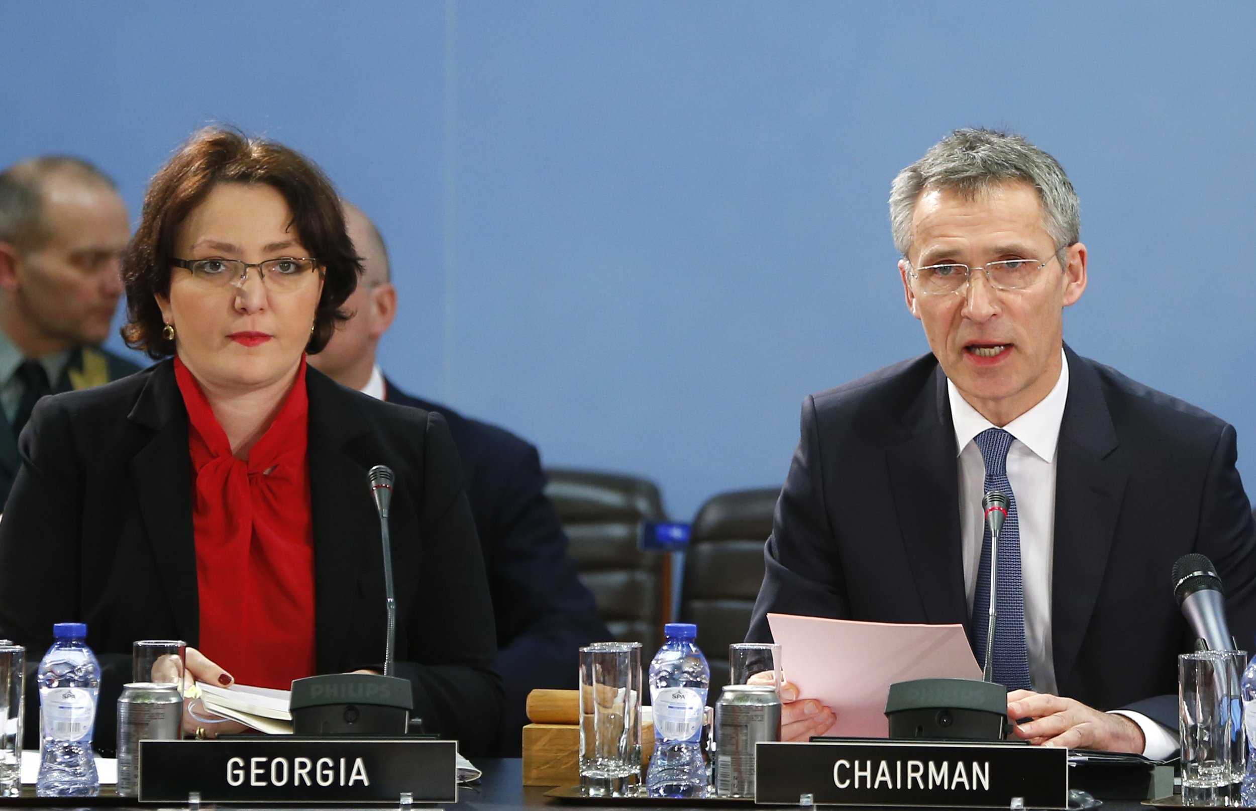 Stoltenberg and Khidasheli speak in Brussels