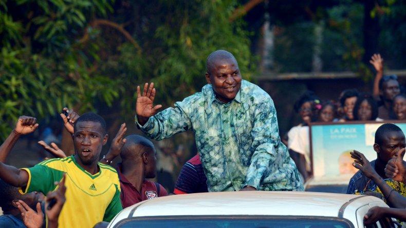 Faustin Archange Touadera campaigns in Bangui.