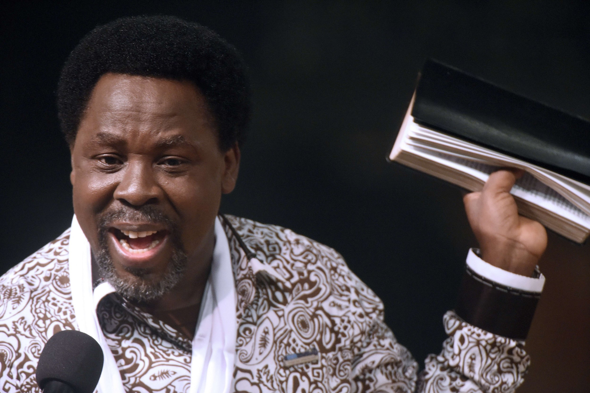 TB Joshua preaches in Lagos.