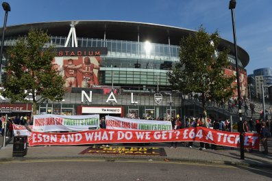 Ticket price protests outside Emirates Stadium, Arsenal's home ground.