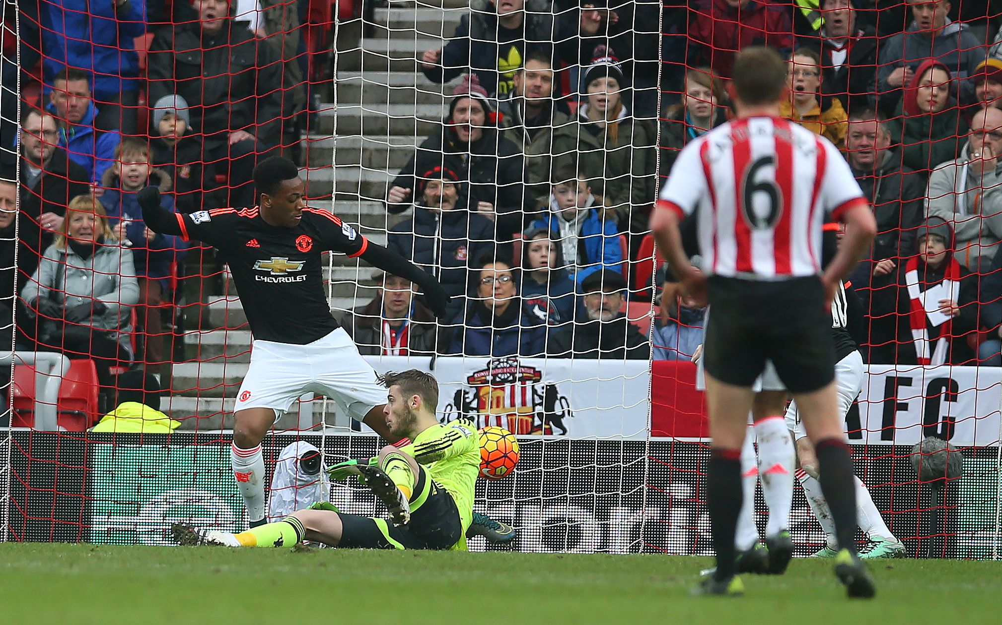 Manchester United's David De Gea scores the own goal that handed Sunderland victory