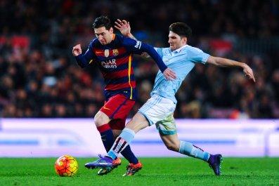 Lionel Messi, left, against Celta Vigo at Camp Nou.