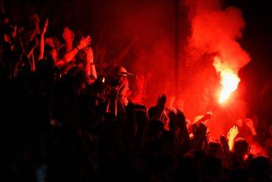 Willem II fans at Koning Willem II Stadium, September 19, 2014