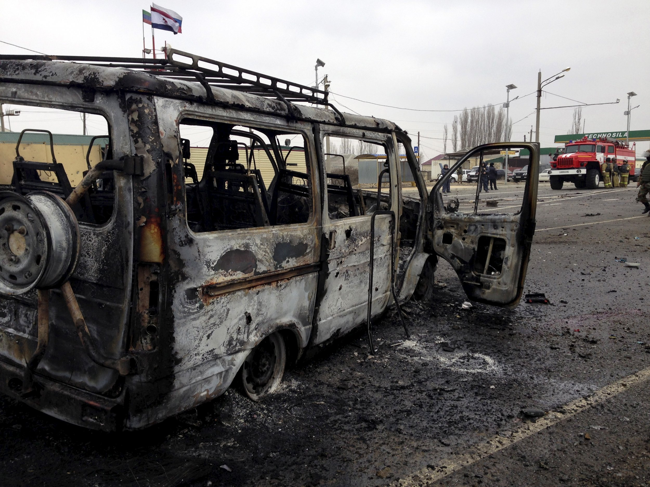 Burnt car in Russia's Dagestan region