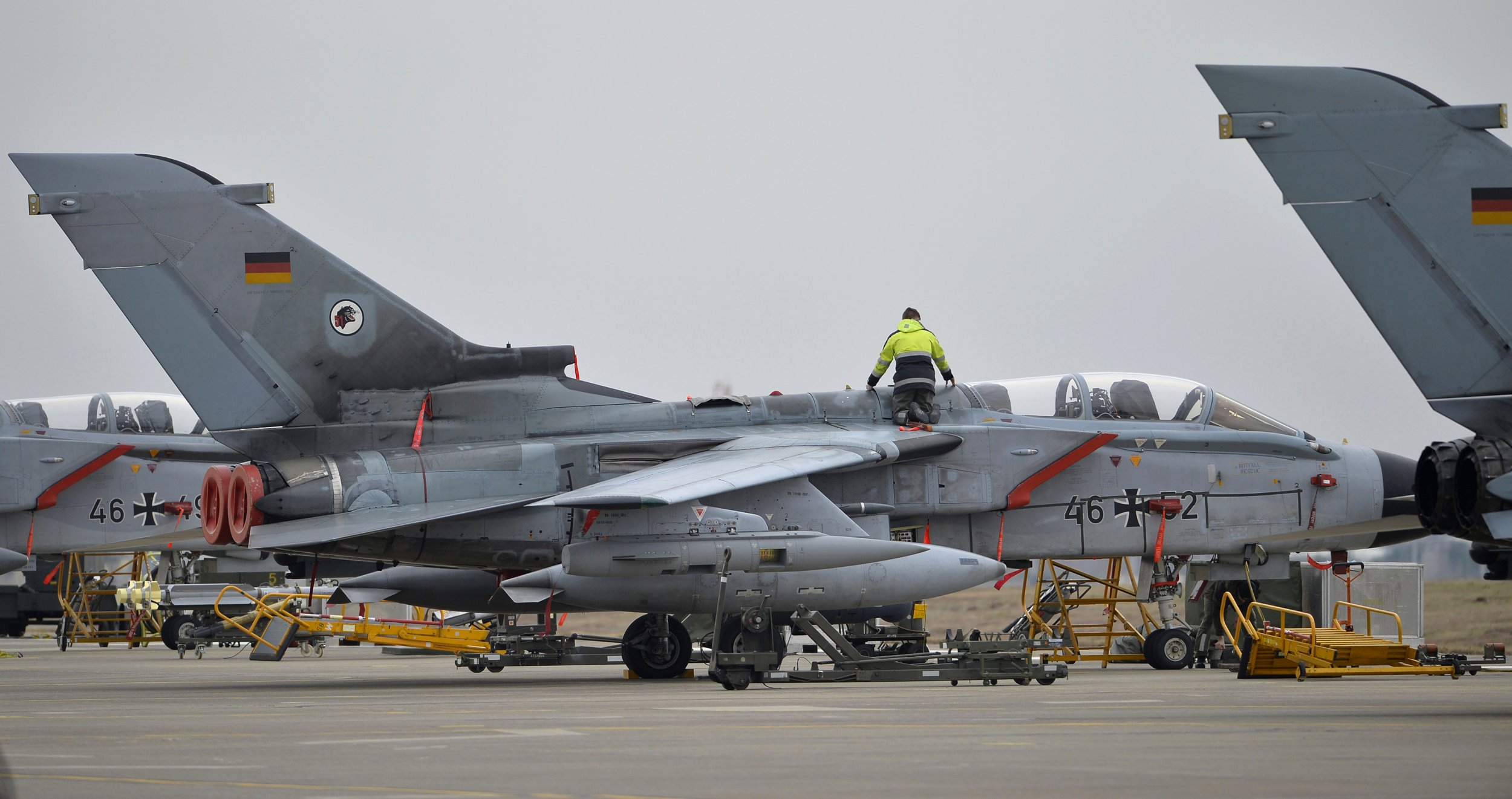 German Tornado jet sits landed on an air strip