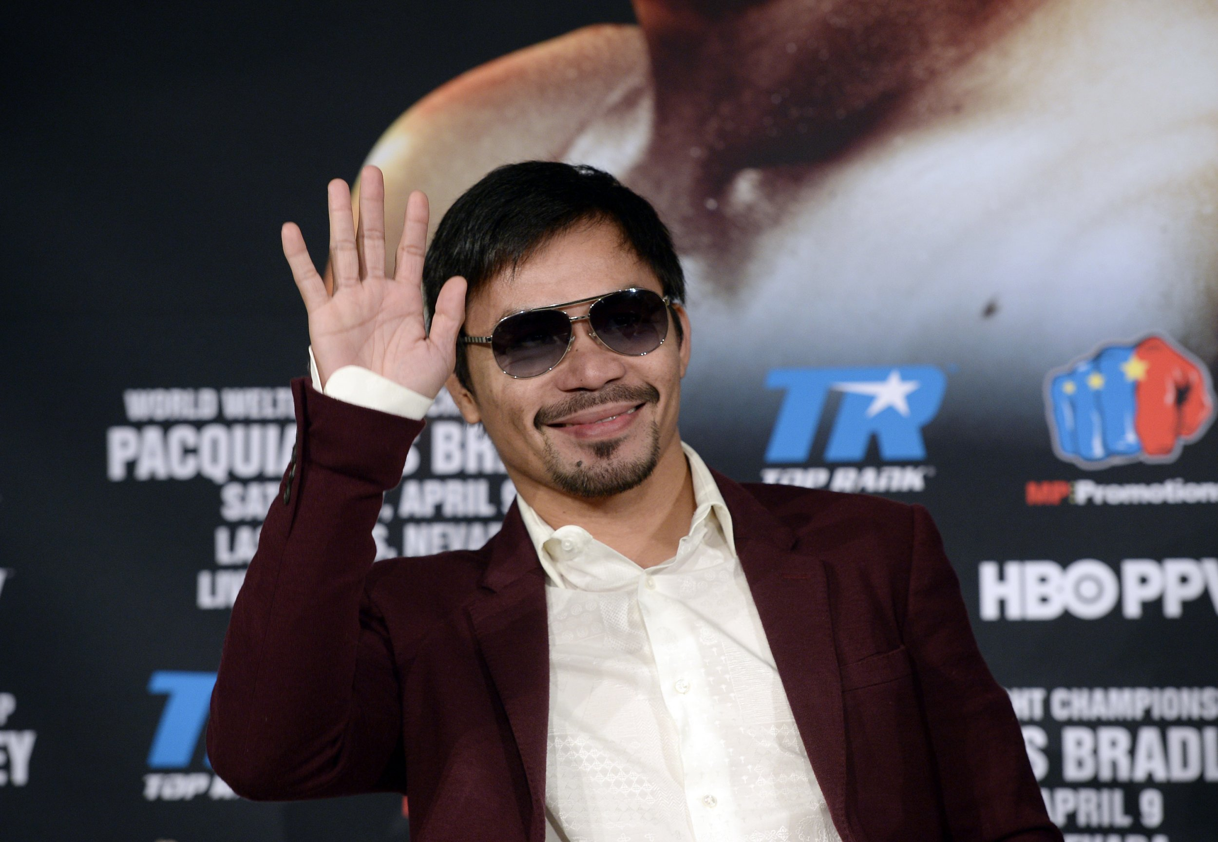 Manny Pacquiao is promoting his upcoming fight with Timothy Bradley Jr.