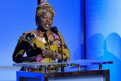 Angelique Kidjo receives the award for Best World Music Album at the GRAMMYs.