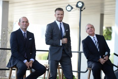 David Beckham, centre, at the launch of his MLS franchise in February 2014.