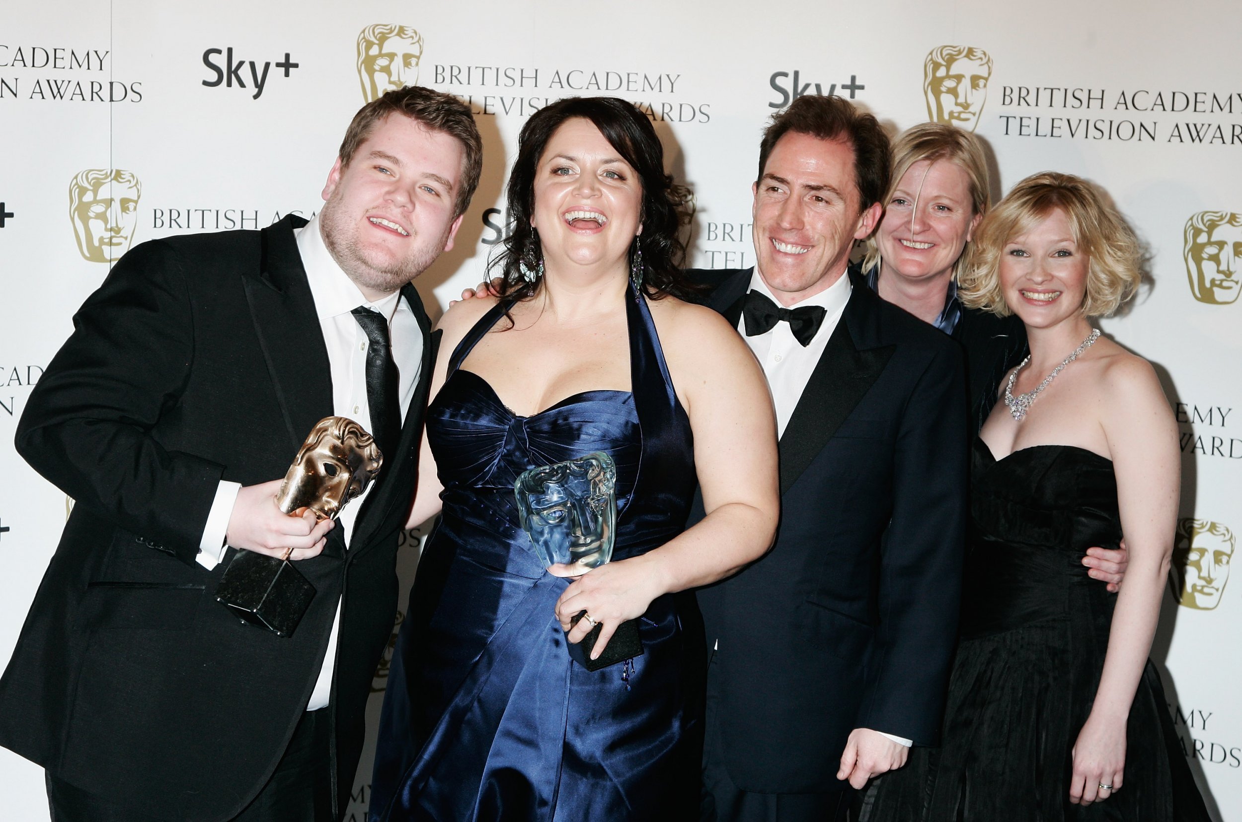 Gavin & Stacey's cast celebrate with a BAFTA.