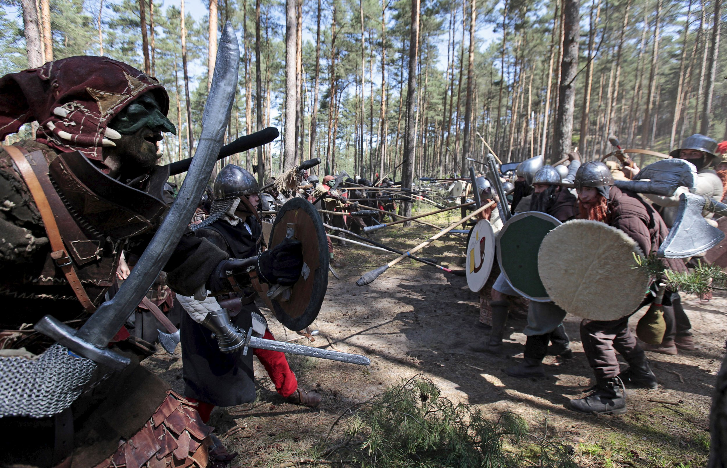 Tolkien universe re-enactors clash in a forest