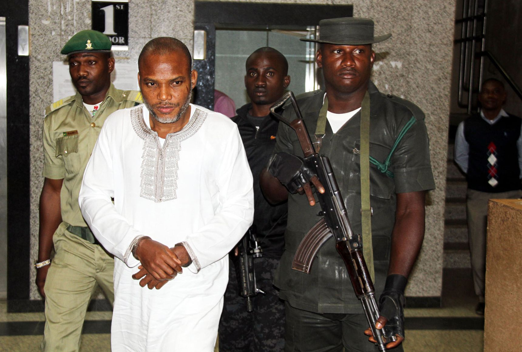 Biafran activist Nnamdi Kanu attends his trial in Abuja.