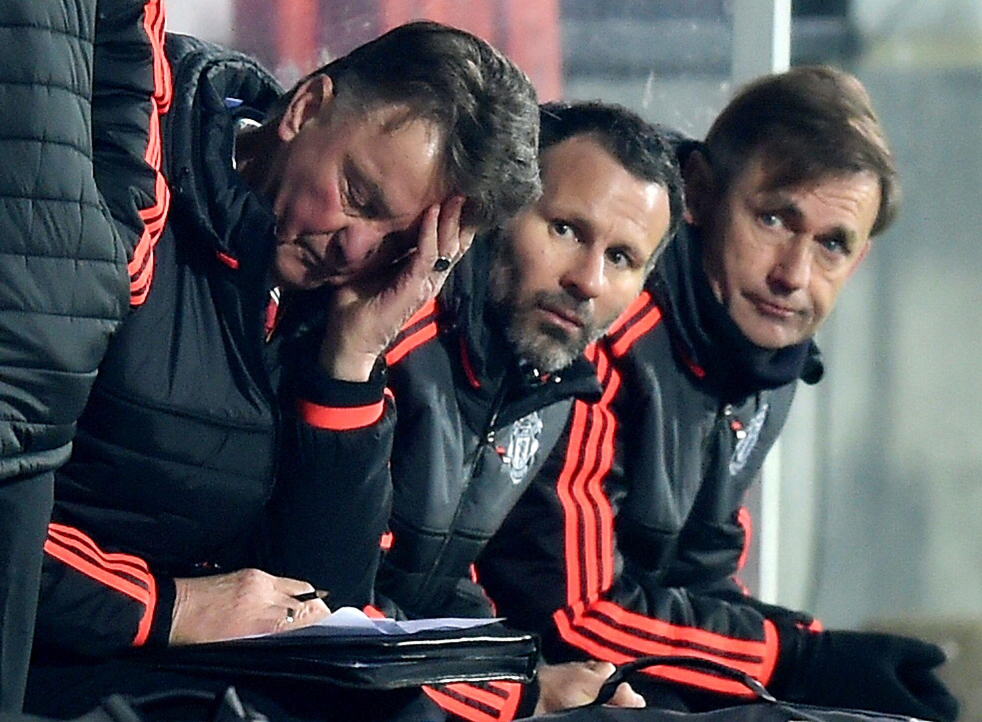 Manchester United manager Louis Van Gaal, left, in Herning on Thursday.
