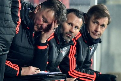 Manchester United manager Louis Van Gaal, left, in Herning on Thursday.