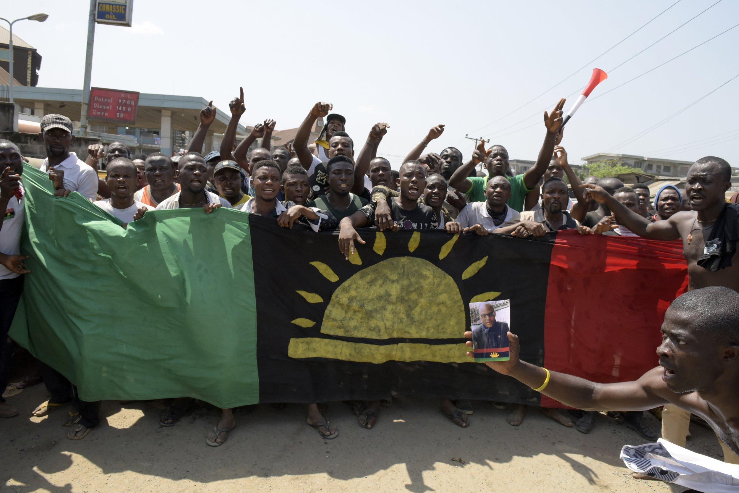 Biafran protesters demonstrate in Aba, Nigeria.