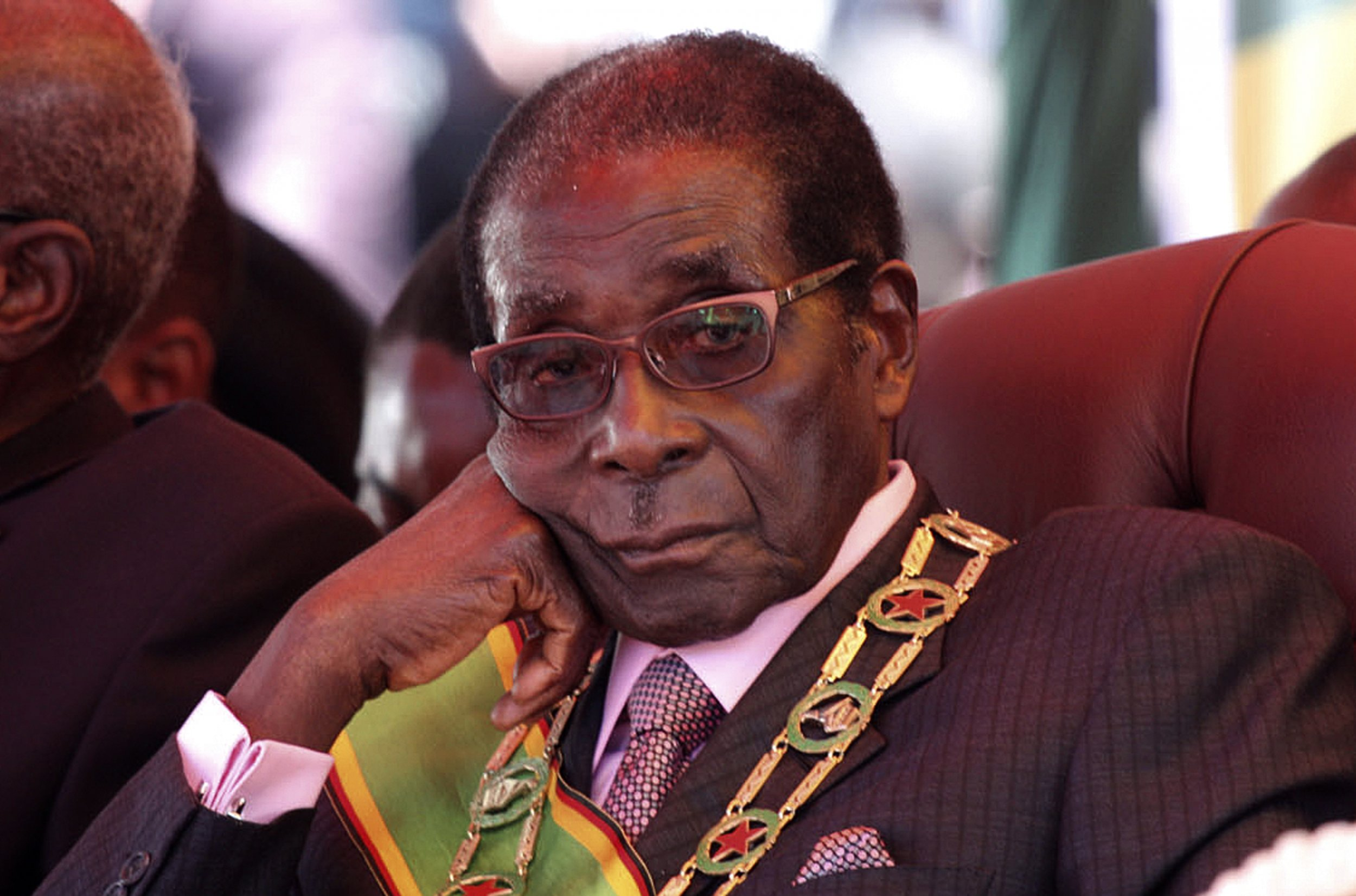 Zimbabwe President Robert Mugabe attends an independence rally in Harare.