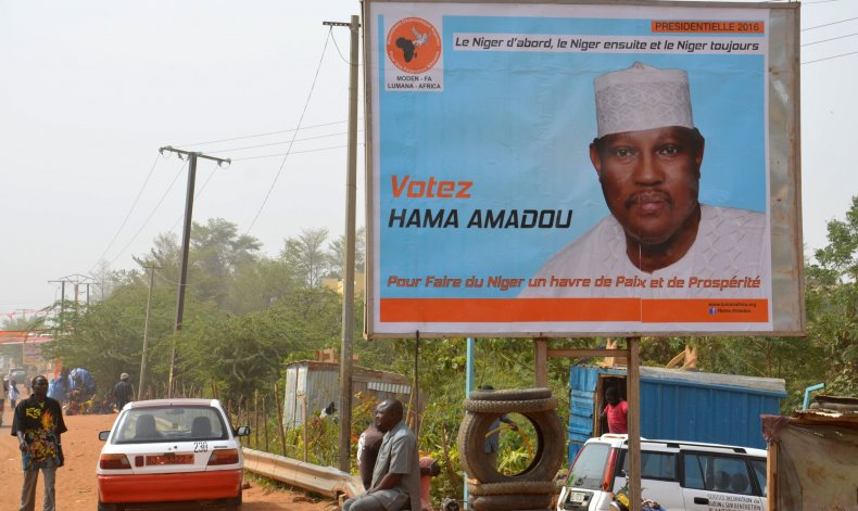 A Hama Amadou campaign poster in Niamey.