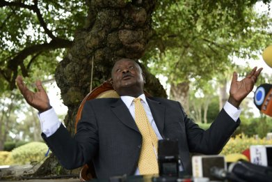 Ugandan President Yoweri Museveni at a press conference at his home in Rwakitura.