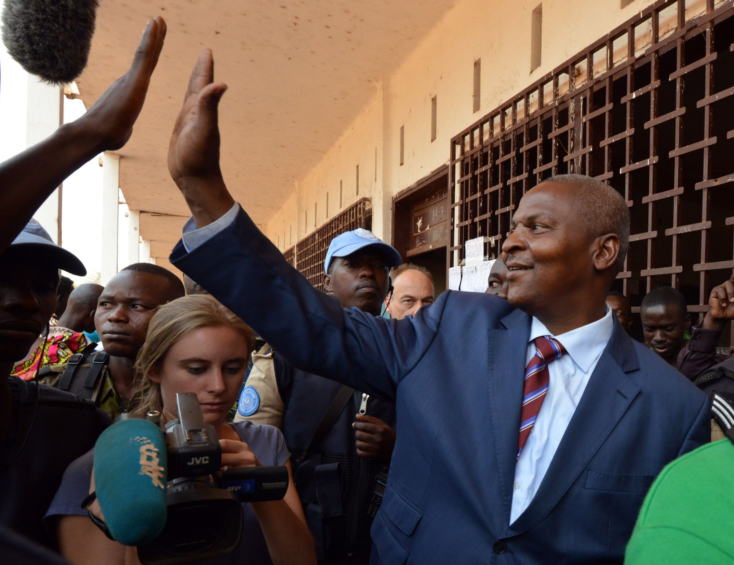 Faustin Archange Touadera leaves a polling station in Bangui.