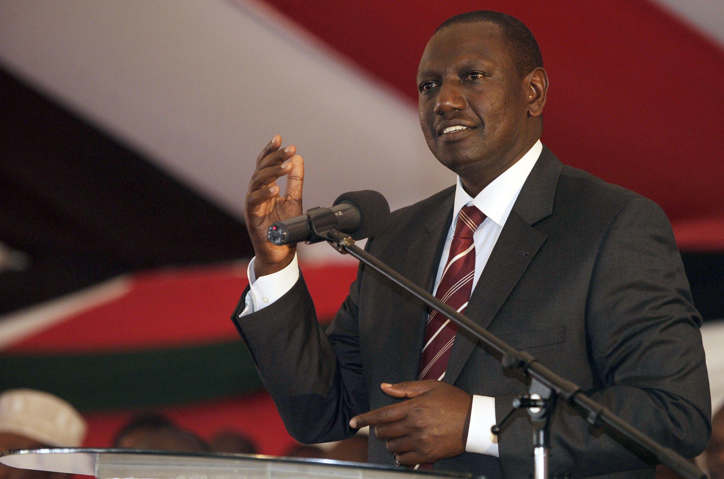 Kenya's Deputy President William Ruto addresses a prayer service.