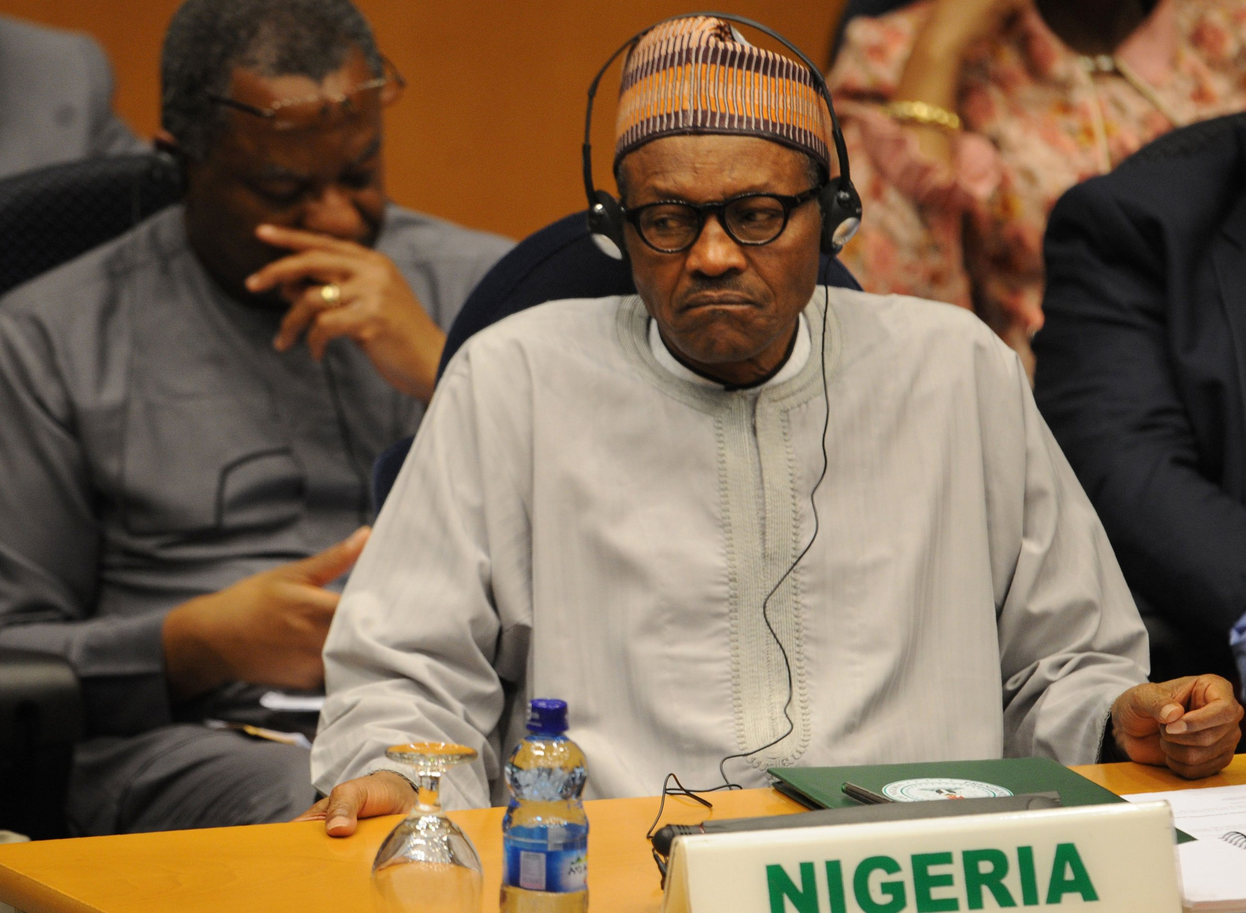 Nigerian President Muhammadu Buhari at an AU meeting in Ethiopia.