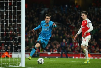 Lionel Messi scored twice on Tuesday at Emirates Stadium.