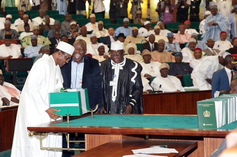 Nigerian President Muhammadu Buhari presents the budget to the Senate in Abuja.