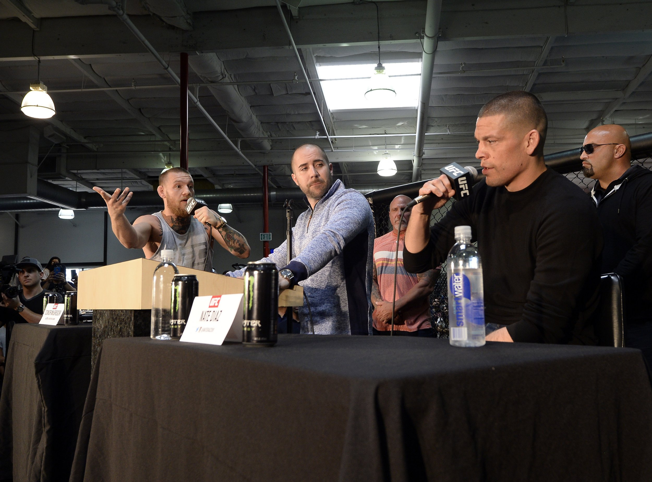 Conor McGregor and Nate Diaz clashed on Wednesday at a UFC 196 press conference.