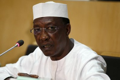 Chadian President Idriss Deby speaks at the African Union summit in Addis Ababa.