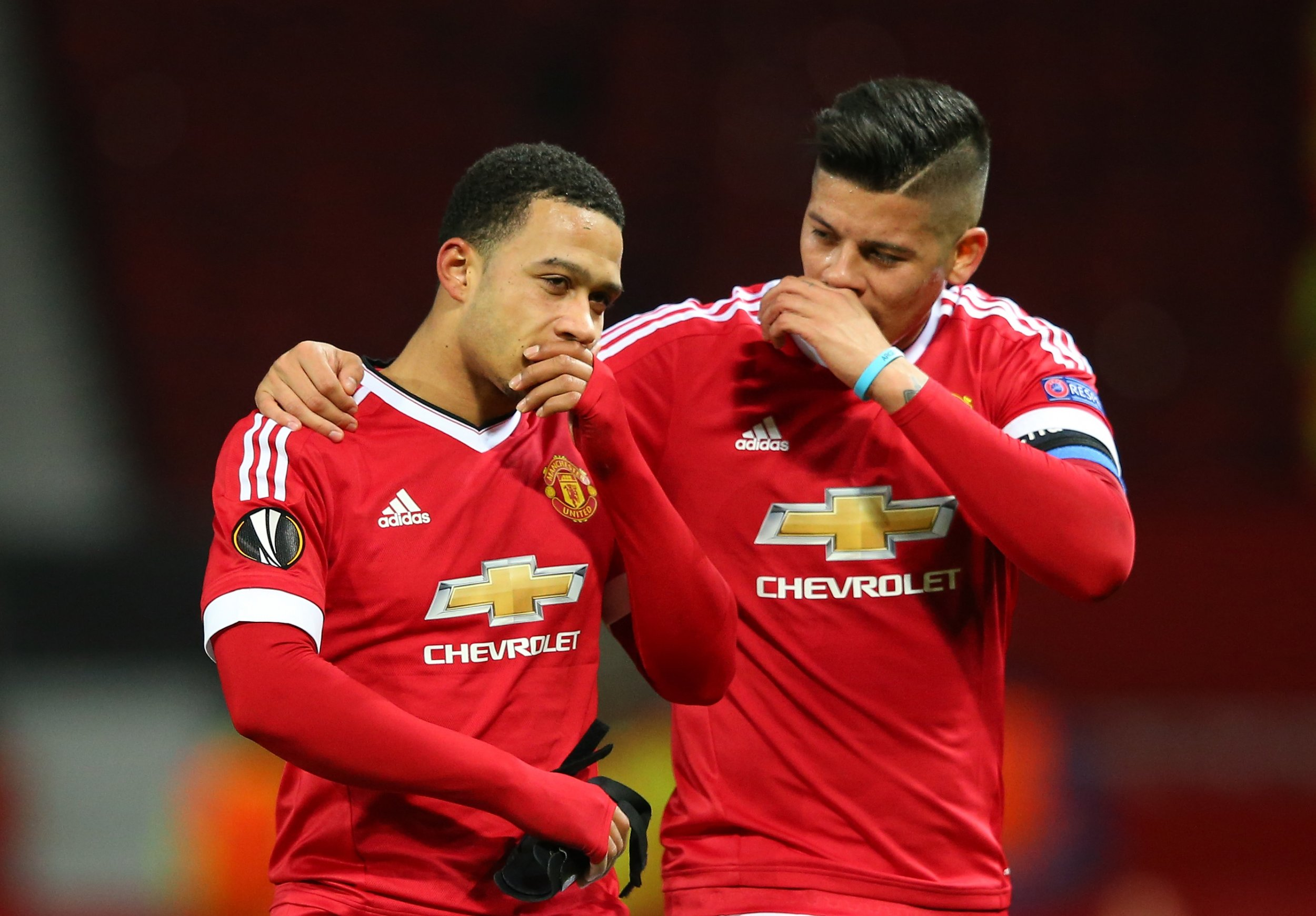 Memphis Depay, left, had his best game for Manchester United against FC Midtjylland on Thursday.