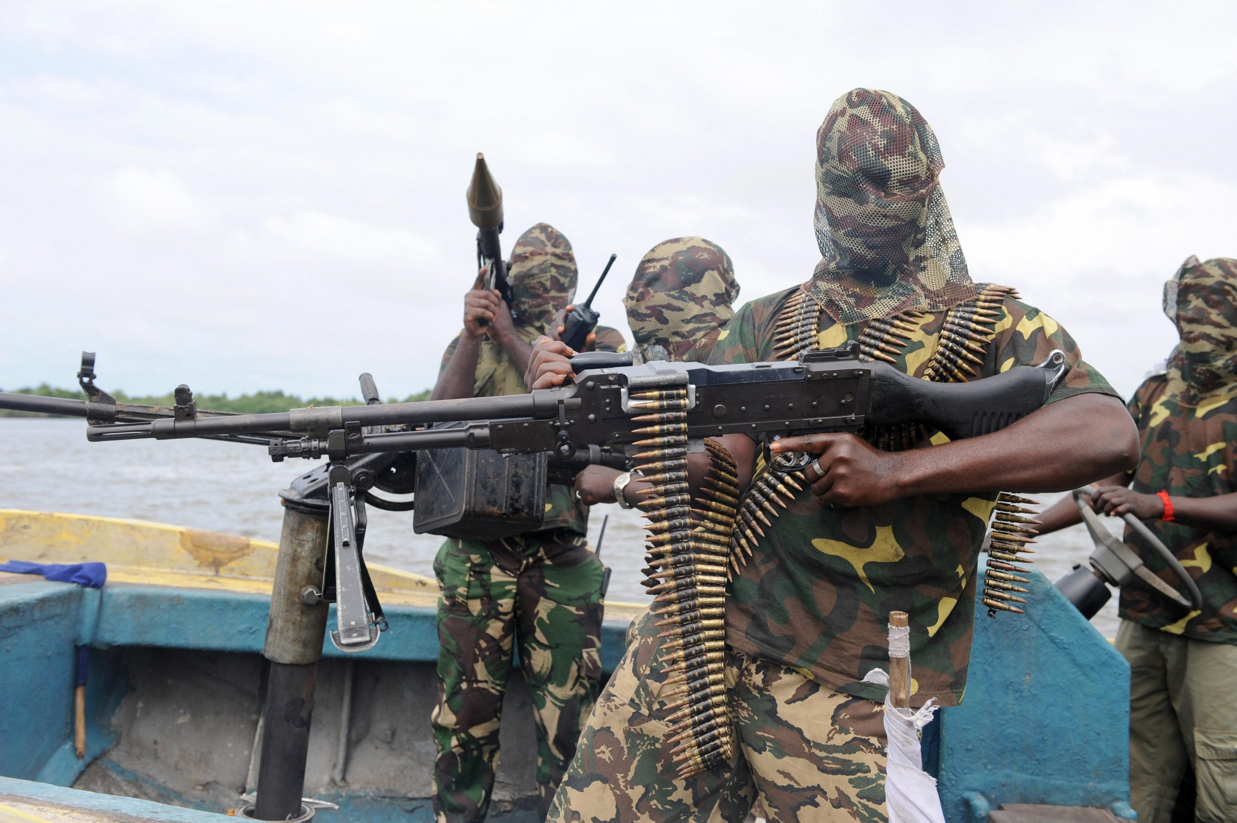Niger Delta fighters prepare for an operation in Nigeria.