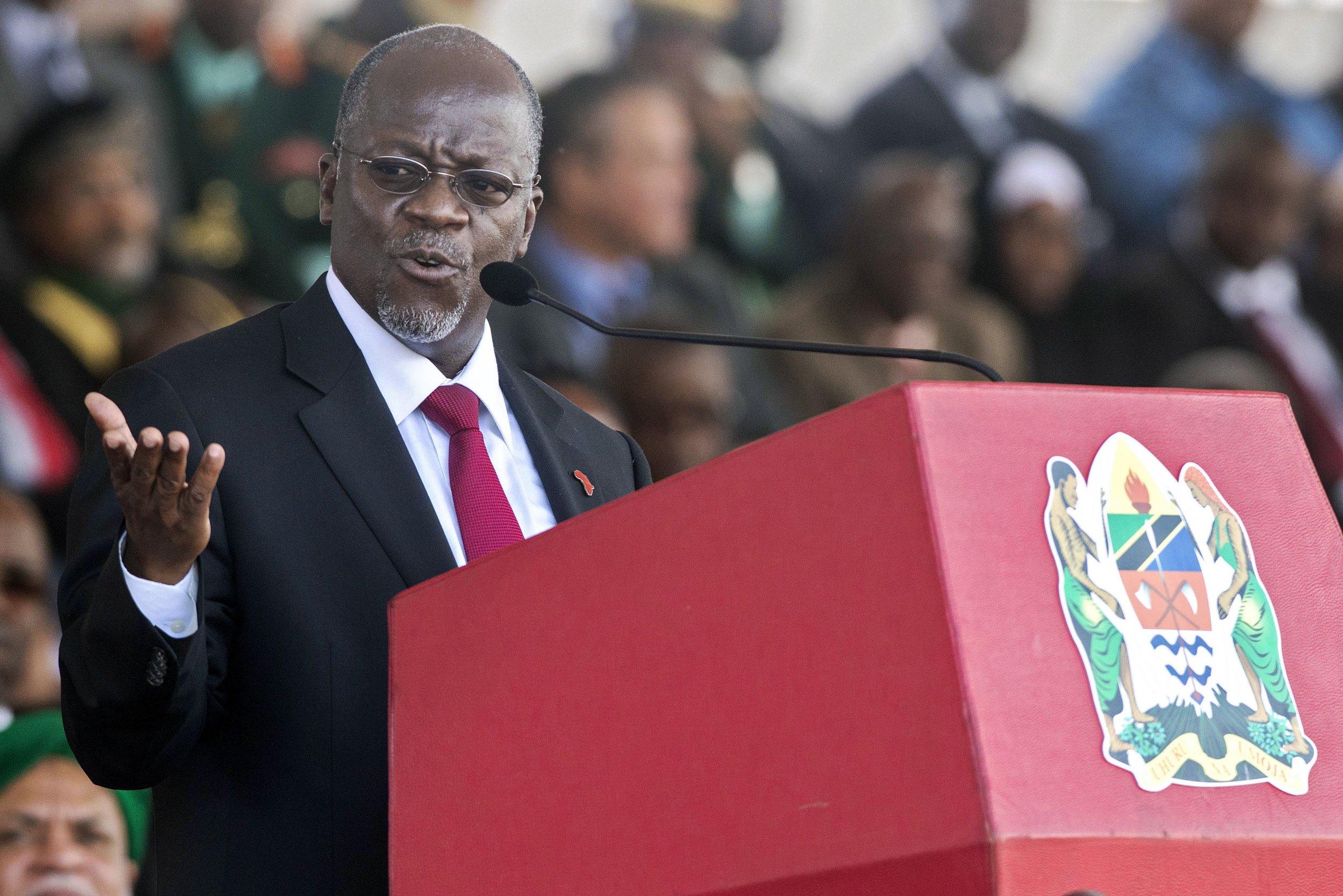 Tanzanian President John Magufuli speaks at his swearing in ceremony.