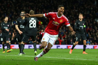Marcus Rashford scored twice on his full first-team debut for Manchester United.