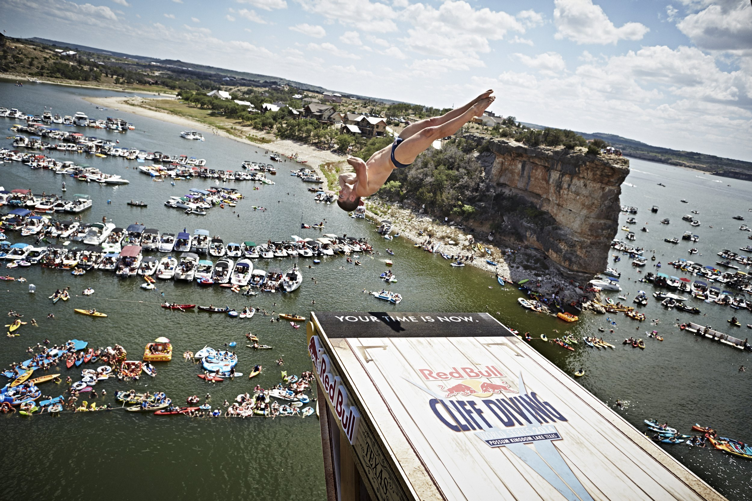 Cliff diver David Colturi photographed by Balazs Gardi