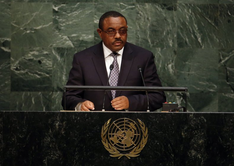 Ethiopian Prime Minister Hailemariam Desalegn addresses a U.N. summit.